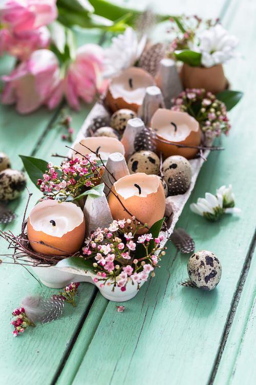 DIY egg candles spring decorations