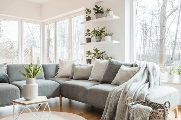 professionally cleaned living room with grey couch