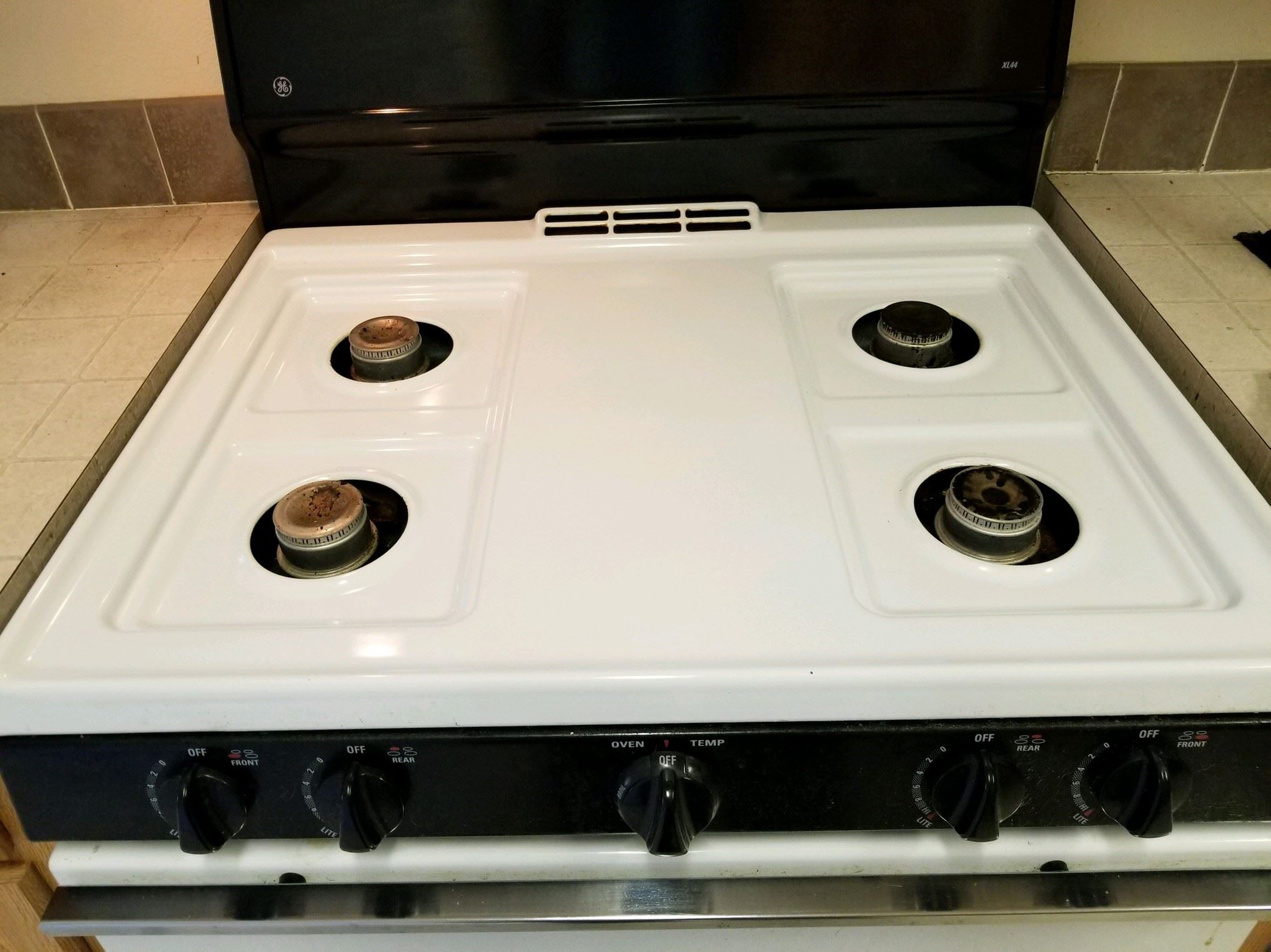 stove top after being cleaned