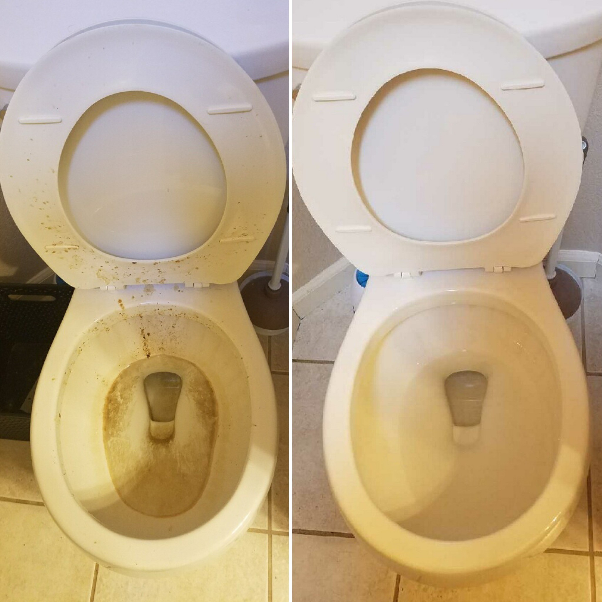 toilet before and after being cleaned